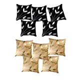 Belive-Me Leaves Patch Black & Beige Cushion Covers (12X12 Inches) Set Of 10