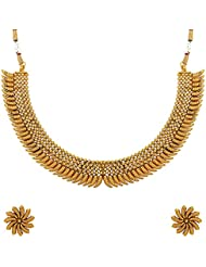 Adwitiya 24k Gold Plated Leaf Designed Pure Antique Traditional Necklace Set For Womens