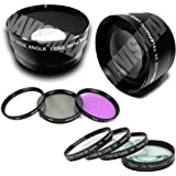 58MM 0.45X Wide Angle Lens + Macro & 2X Telephoto Lens Includes LIFETIME WARRANTY Lens Caps Lens Bag + 4 Piece Macro Close Up Lens Set 3 Piece Filter Kit DavisMAX FiberCloth For Canon Rebel EOS T2i T3i T1i XT XS XSi XTi T3 & MORE!