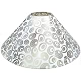 "13"" Round White With Silver Polka Dots Designer Lamp Shade For Table Or Floor Lamp"