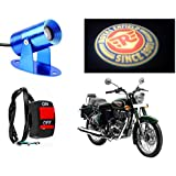 Auto Pearl Premium Quality Bike 3D LED Shadow Laser Light Royal Enfield Logo Set Of 1 Pcs. With Switch For - Royal...