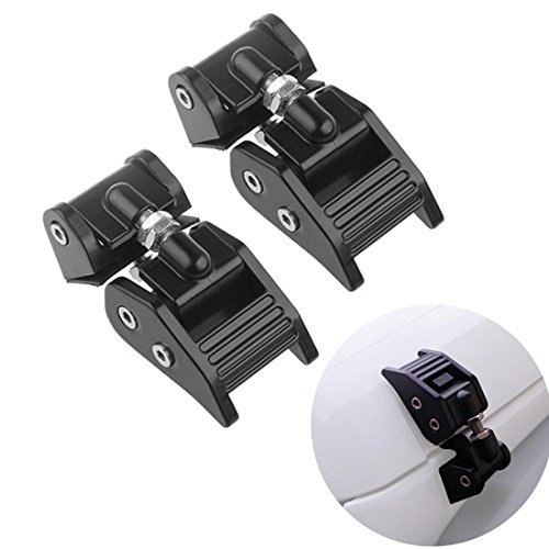ICars Aluminum Hoods Catch Sets Hood Latch Lock Anti Theft Kit Assembly Locks Latches Pair Jeep Wrangler JK Unlimited Accessories 2 door 4 door Black 2007 2008 2009 2010 2011 2012 2013 2014 2015 2016