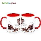 HomeSoGood Crystal Clear Coffee Beans Coffee Mugs White 325 Ml Ceramic (2 Mugs)
