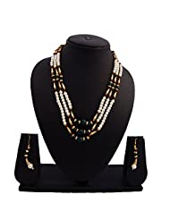 Nisa Pearls Green And Golden Beaded Necklace Set