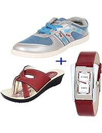 Bersache COMBO Pack Of 3 Women/Girls Multicolor (Sports Shoes, Sandal, & Watch)
