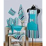 Swayam Grillz Printed Cotton 8 Piece Kitchen Linen Set - Turquoise (KS08-4209 )
