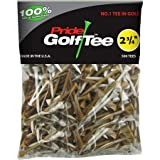 Pride Golf Tee, 2-3/4-Inch Deluxe Tee, 500 Count, Mixed White / Natural Made In The USA