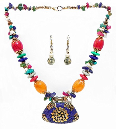 DollsofIndia Multicolor Stone Bead Tibetan Necklace With Lacqured Brass Pendant And Earrings - Stone And Metal...