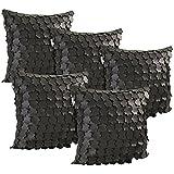Idrape Rexin 5 Piece Cushion Cover Set- Black, 40 Cm X 40 Cm - B013UD8ZIM