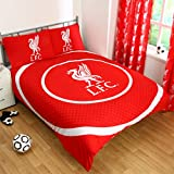 Liverpool FC Official Bullseye Reversible Duvet Cover Bedding Set (Single And Double) (Double) (Red)
