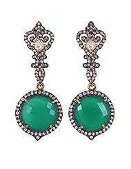 Amethyst By Rahul Popli Green Silver Stud Earrings - B00OYSBZ0S