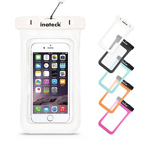 Inateck iPhone6/6Plus/Xperia/GALAXY Note4/S4も入る最大5.7インチまで対応の大きめサイズのスマートフォン用防水ケース ラップ付 防水保護等級 : IPx8 お風呂でも - ホワイト