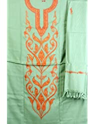 Exotic India Grass-Green Salwar Kameez Fabric From Kashmir With Ari Embr - Green