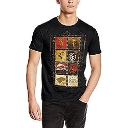 Game of Thrones Family Sigils - Camiseta manga corta para hombre, color negro, talla M