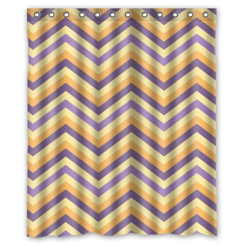 Purple/Orange/Beige Chevron Zigzag Pattern Shower Curtain