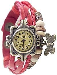 M-Mart Leather Red Butterfly Bracelet Woman Watch