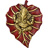 Two Moustaches White Metal Patta Ganesh Wall Hanging Multicolour (Length: 13.97)