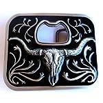Long Horn Bull Bottle Opener Belt Buckle