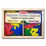 Alphabet Wooden 52 Magnets-in-a-Box Gift Set + FREE Melissa & Doug Scratch Art Mini-Pad Bundle [0448