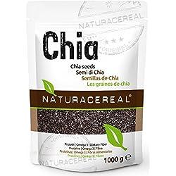 """Chia Samen 1kg von NATURACEREAL - Chiasamen in Premium-Qualität - Chia-Saat vegan, naturbelassen, ohne Gentechnik, mit Omega-3 - Saat der Chia-Pflanze """"Salva Hispanica"""" geprüft in Deutschland"""