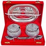 Rastogi Handicrafts Decorative Two Bowl Tray Serving Set ! Studded Work (Bowl Capacity 200 Ml Each )