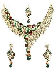 Shining Diva Wavy Enamelled Kundan Necklace Set With Maang-Tika For Women