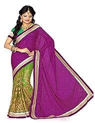 DS Fashion's Magenta/Green Satin & Net Saree