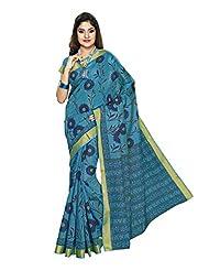Jevi Prints Blue Colour Gadwal Cotton Saree