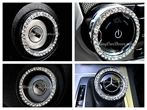 (3 Pack) Silver Crystal Car Bling Ring Emblem Stickers, Rhinestone Ignition Starter Bling for Buttons Keys & Knobs, Interior Crystal Car Accessory, Metal Car Emblem Decal, By Bling Car Décor (Silver)
