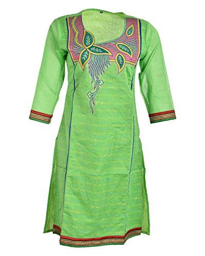 Global Women's Cotton Straight Kurta (GW12GreenL015, Green, L)