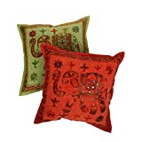 Rajrang Embroidered With Mirror Work Cushion Cover 16 By 16 Inches Set 2 Pcs