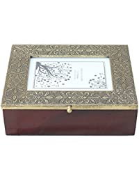 APKAMART Handicraft Accessory Box - Hand Crafted Brass Decorative Box With Photo Slot For Table Decor, Home Decor...