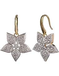 SAADGI American Diamond Sparkle Zirconia Star Shaped Brass Drop Earring