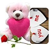 Valentine Gift Homesogood You Me And Love Brown 3D Mobile Case For IPhone 6 (Back Cover) With Teddy & Red Rose