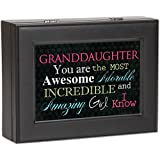 Granddaughter Cottage Garden Black Matte Finish Jewelry Music Box - Plays Song You Light Up My Life