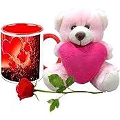 Valentine Gifts HomeSoGood Fragrance Of Love White Ceramic Coffee Mug With Teddy & Red Rose - 325 Ml