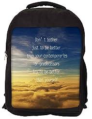 Snoogg Better Than Yourself Backpack Rucksack School Travel Unisex Casual Canvas Bag Bookbag Satchel