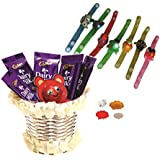 Cadbury Dairy MIlk & Skylofts Chocolates Gift Pack ( 10pcs) With Led Rakhi(any 1) - Rakhi Chocolates