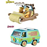 Set Of 2 Hot Wheels Elite One: The Flintmobile And Scooby Doo! The Mystery Machine 1:50 Scale
