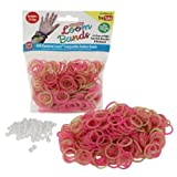 Loom Rubber Bands - 300 Pc Tye Dye Rubber Band Refill Pack (Pink / Green) - 100% Latex Free