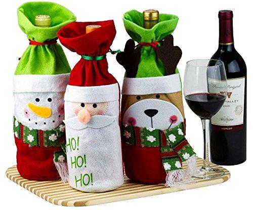 3 Wine Gift Bags Santa, Reindeer and Snowman