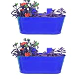 TrustBasket Oval Planter Set Of 2 Dark Blue Color 12*7 Inches