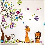 1 X Jungle Zoo Happy Owl, Lion With Giraffe Wall Decal For Kids, Nursery Room