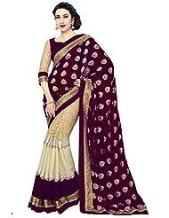 SareeShop New & Latest Maroon Color Georgette Fabric Wedding Party Wear Designer Saree For Ladies&girls(HitanshMaroon_Maroon_Free...