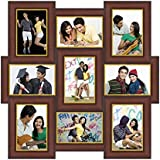 GKVale Wooden Collage Photo Frame (53 Cm X 53 Cm X 2 Cm, Brown And Golden)