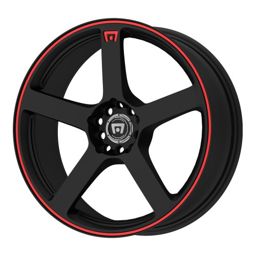 Motegi Racing MR116 Matte Black Wheel With Red Racing Stripe (18×8″/5×112, 114.3mm, +45mm offset)