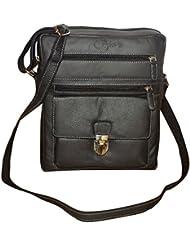 Style98 Genuine Leather Traveller Multi Purpose Messenger Bag For Men And Women - Black - B01FMIUD8I