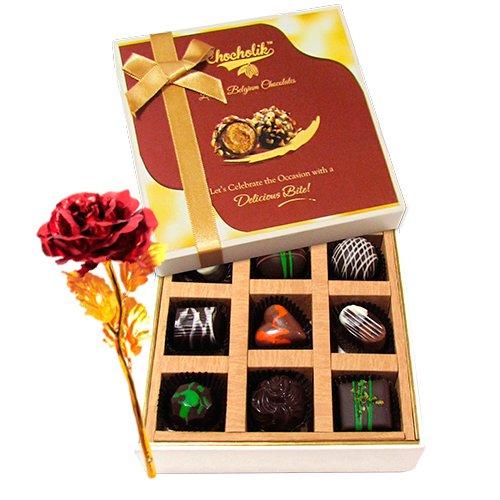 Dark Assortment Choco Treats With 24k Red Gold Rose - Chocholik Luxury Chocolates