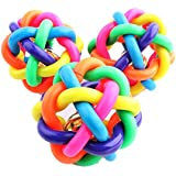Qiyun Rainbow Color Weaving Bell Rubber Chew Ball Pets Dog Toys 6Cm Pet Supplies ONE RANDOM COLOR SENT