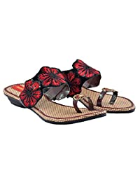 """DIOVANN """"A Flower Blossoms For Its Own Joy"""" Red And Black Flats For Womens - B019A2D8BG"""